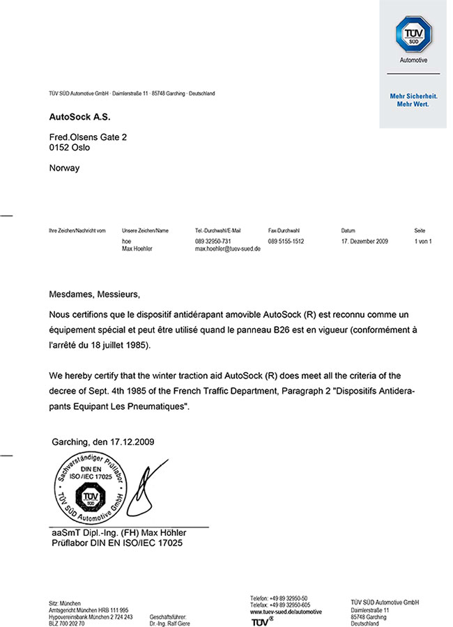 Certifikát AutoSock – Francie