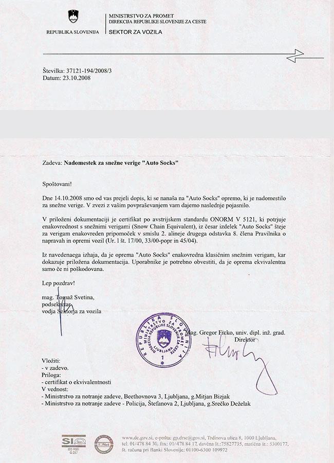 Certifikát AutoSock – Slovinsko