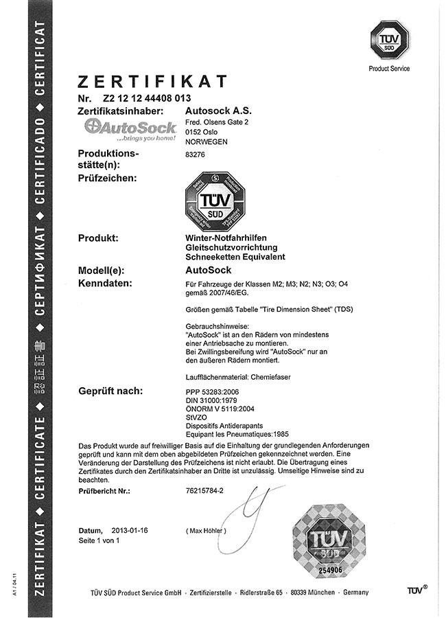 Certifikát TÜV AutoSock – nákladné autá