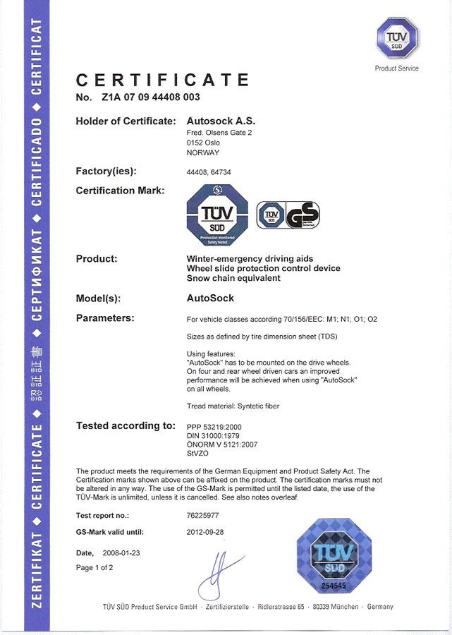 Certifikát TÜV AutoSock – osobné autá